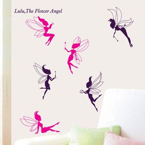 Летающий Цветок Ангел Фея Милые Стены Наклейки для детской комнаты/zy7022 съемные творческие стены стикеры home decor