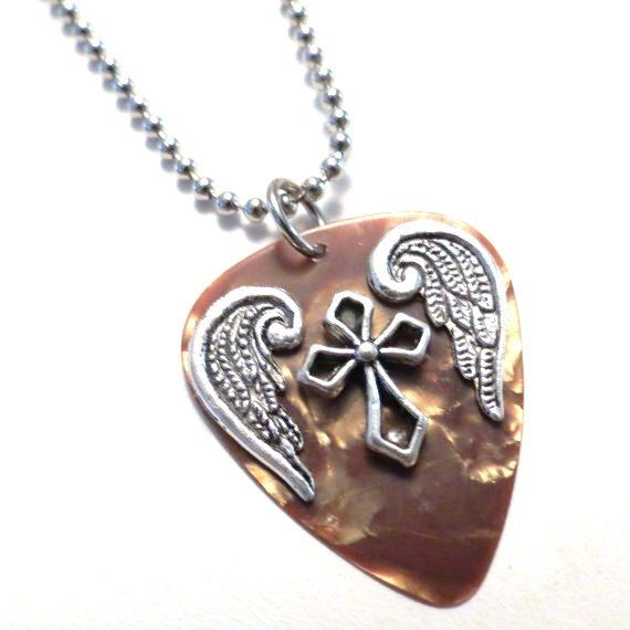 Guitar Pick Necklace - Christian Jewelry - Caramel Brown - Guitar Pick Jewelry - Angel Wings - Cross Necklace - 24 inch Ball Chain