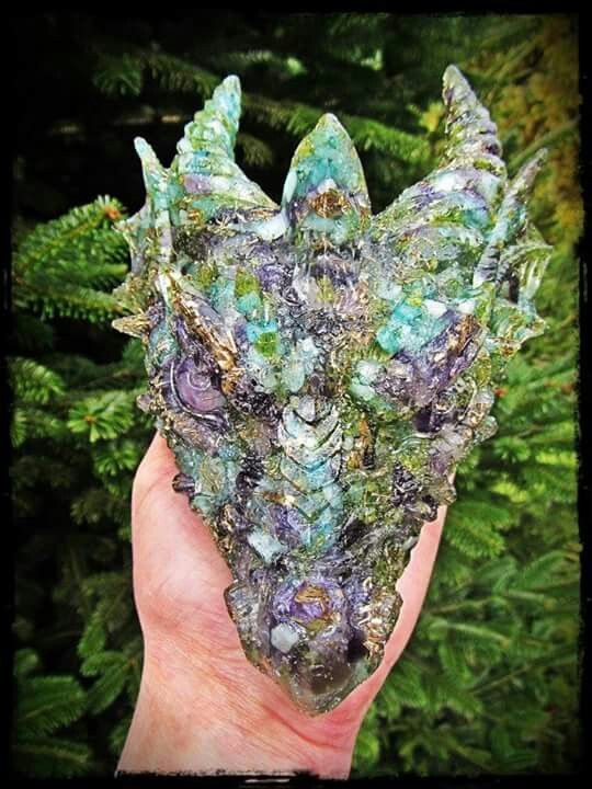 Aquamarine / peridot / amethyst / and rose quartz orgonite dragon