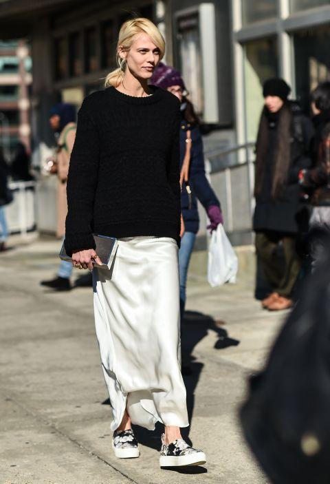 Sweater + Slip Dress + Slip-Ons