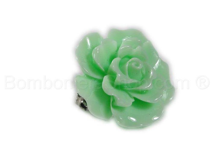 Bocciolo di rosa in acrilico con spilla colore verde acqua mare