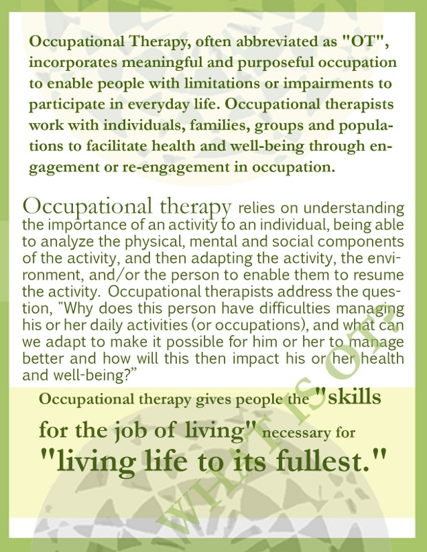 18 best Occupational Therapy Month images on Pinterest Language - occupational therapist job description