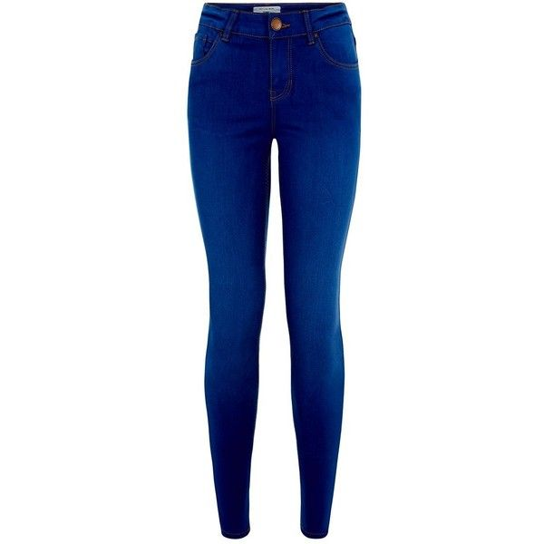 Petite 28in Bright Blue Supersoft Super Skinny Jeans ($30) ❤ liked on Polyvore featuring jeans, pants, bottoms, petite, cropped jeans, blue jeans, zipper jeans, 5 pocket jeans and bright blue jeans
