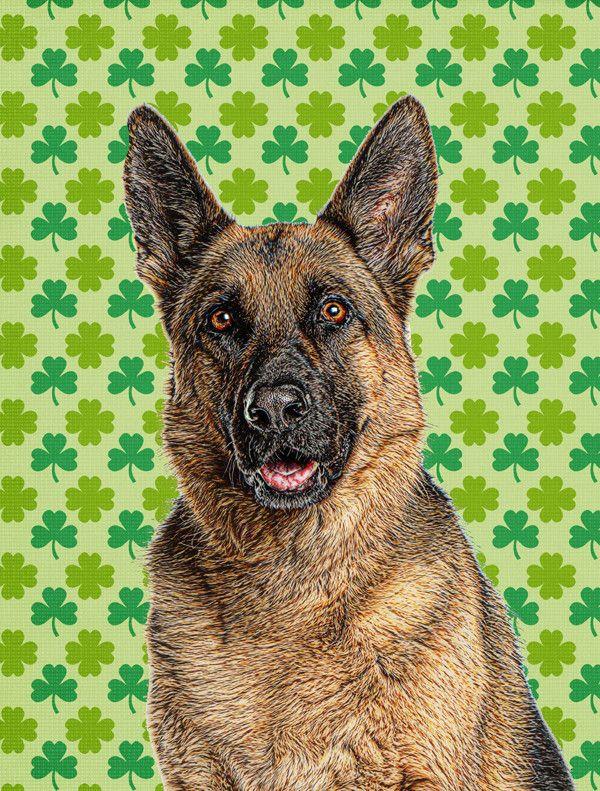 St. Patrick's Day Shamrock German Shepherd House Vertical Flag