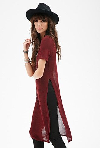 Heathered High-Slit Top | Forever 21 - 2000080179