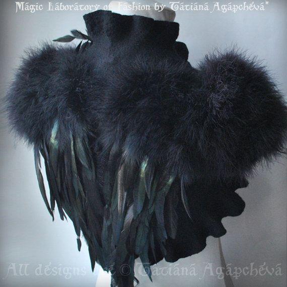SWAN LAKE Bolero Shrug Goth Bridal Feathers Wings Black Felted Merino and Silk, Roses Corsage / Brooch, Marabou Sleeves, US 6