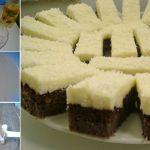 Ingrediente Pentru Blat: -5 linguri de făină, -4 linguri de cacao, -9 linguri de zahăr, -1 praf de copt, -8 ouă, -125 ml apă minerală, -3 linguri de ulei Pentru crema: -1 plic budincă de frişcă sau vanilie, -1 pachet de unt (200 g), -8 linguri