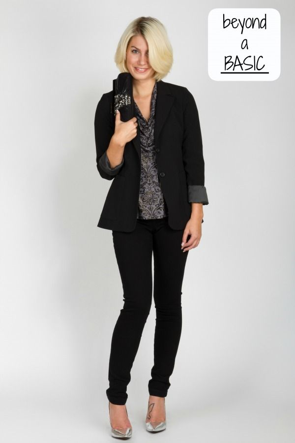 The Tobias black jacket is beyond a basic. It adds instant polish to any outfit.