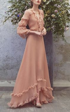 Flounce Full Length Dress by LUISA BECCARIA for Preorder on Moda Operandi