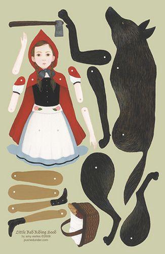 Little Red Riding Hood Paper Doll le petit chaperon rouge et le loup poupée papier articulée