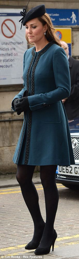 As Kate's bump begins to show the Duchess is tending towards smart A-line jackets that flow over her stomach and allow for expansion as her pregnancy develops.    Today's Teal Marlene Birger dress coat was smart choice for the stylish royal, adding a pop of colour to a grey day in London and acting as proof that it is possible to dress stylishly without resorting to frumpy maternity wear.