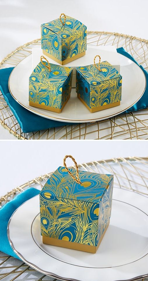 The perfect favor box for a peacock themed wedding!