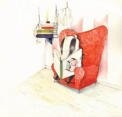 Merel Eyckerman Illustration of a badger. Really sweet!