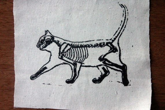 Cat Skeleton Patch Kitty Skull Bones Cute Punk Feline. $5.00, via Etsy.