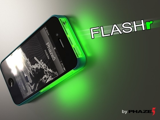 FLASHr: iOS LED Flash Notifications Case for iPhone 4/4s by Terence Green + Trey DeArk (Phaze5), via Kickstarter.