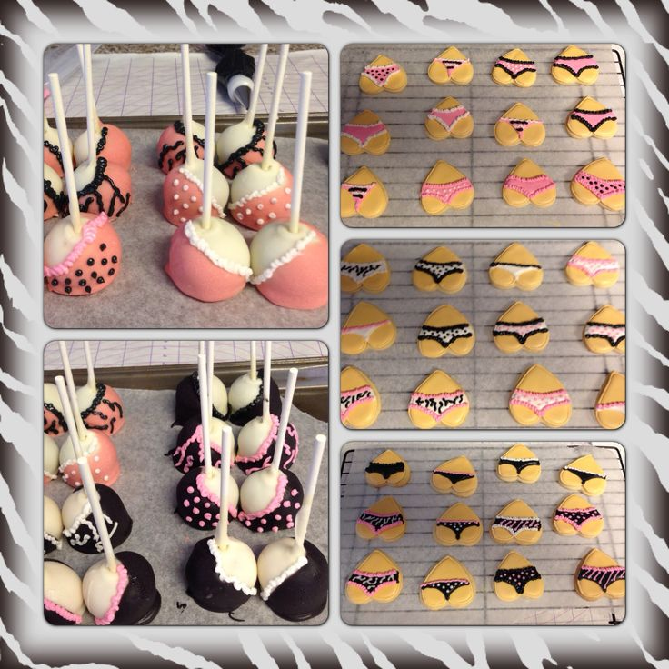 Lingerie  Shower Cookies & Cake Pops!! Could do choc dipped strawberries to make it GF!