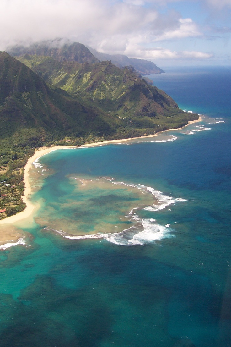 Tunnels Beach, North Shore, Kauai...Love...Where I spent my 30th birthday with Dave and my parents. I took this picture on a helicopter ride! We flew right over the beach house we were staying at...