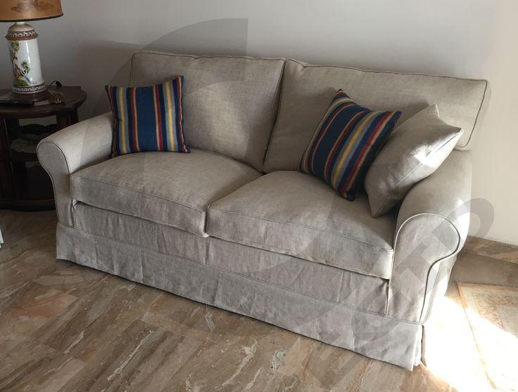 Divano mod. HOME, in tessuto di LINO 100%, seduta in Piuma con inserto in poliuretano per una maggior comodità, schienale in Piuma. - www.cegidsas.it