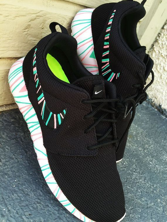more photos 8ac9d 5a75b Custom Nike Roshe Run sneakers South Beach teal by CustomSneakz
