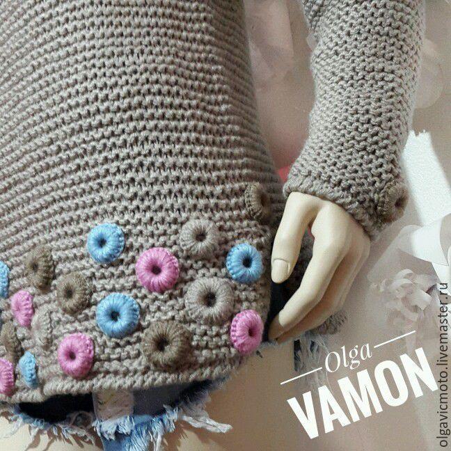 """Купить Вязаный свитер """"Swag"""" - комбинированный, в горошек, вязаный свитер, свитер женский вязаный"""