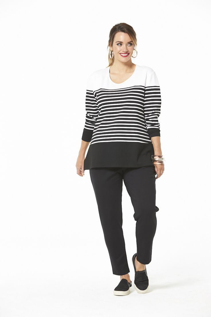 Sporty Tunic Top in Black & White