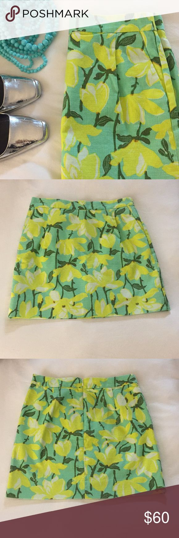 "❤️Sale! J Crew skirt NWOT J Crew floral skirt with beautiful colors of lemon/almost neon yellow and mint green background with leafy green stems. Material is 100% cotton and fully lined with pockets that have yet to be cut. The waist measures 14.5"" flat across, and is almost 17"" long. Perfect for spring summer! J. Crew Skirts"