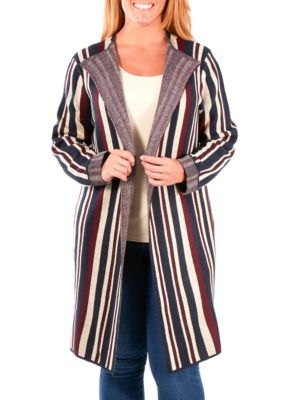 NY Collections Plus Size Stripe Duster Cardigan