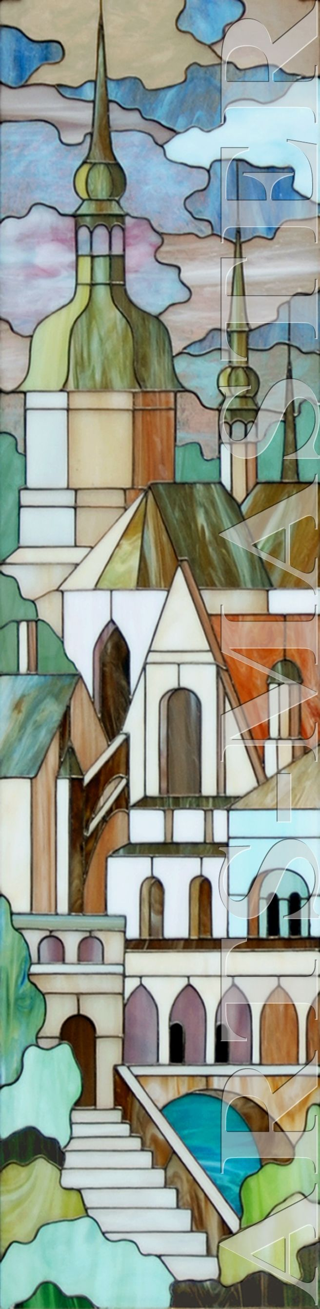 """Landscape"" -"" By: Elena Artsybusheva. Stained glass was made ​​in the technique of ""Tiffany""."