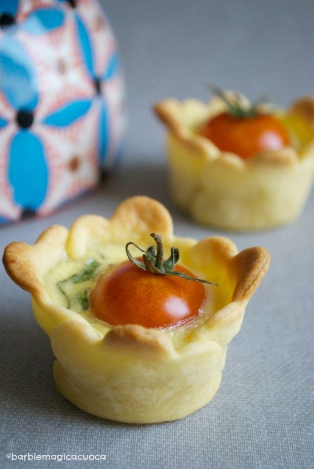 Mini quiche basilico e pomodorini