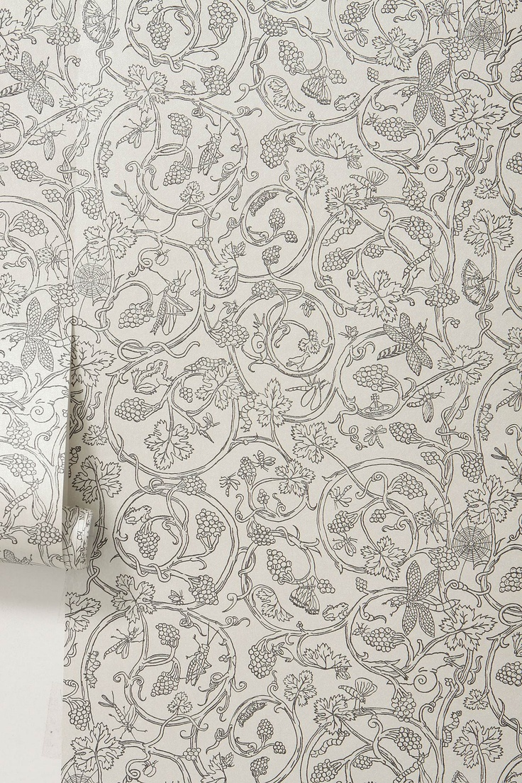 "vivienne westwood's wine wallpaper; ""grasshoppers, dragonflies, worms, frogs - hide among the coiling, leafy vines of ripening vitis vinifera."""