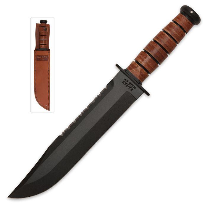 Ka-bar Knives Big Brother 2217 Fixed Blade Knife with Leather Sheath