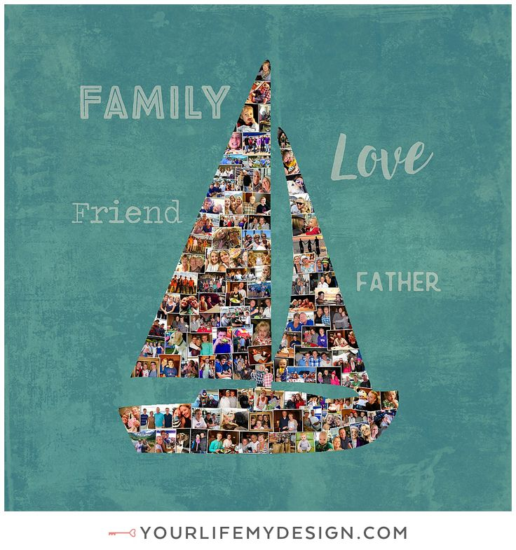 SAILBOAT Gift, Parent's Personalized Photo Collage, Dad Birthday Gift, Best Dad Gift, Gift for Dad, Gift for parents, Father's Day Boat Gift. http://yourlifemydesign.com/  #gift #giftideas #anniversary #homedecor #home #photography #collage #decor #decoration #walldecor