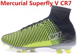2017 arrived mens fashion Mercurial Superfly V CR7 black green Soccer shoes Laceless Cleats Cheap Football boots 39-46