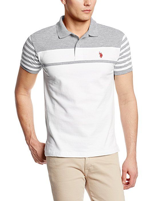 U.S. Polo Assn. Men's Slim Fit Chest Stripe Polo with Small Pony, Heather Gray, Small