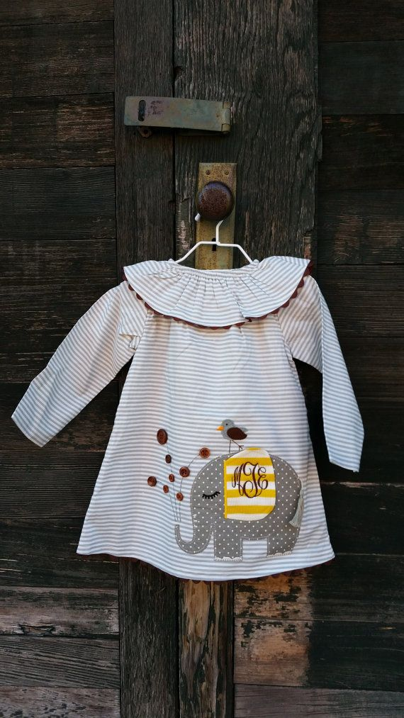 Personalized Elephant Dress  Mudpie  by embellishboutiquellc