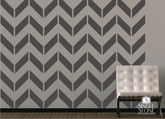 Chevron pattern wall decals vinyl art stickers vinyls for Chevron template for painting
