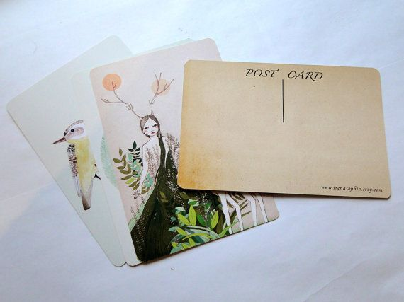 Vintage Illustration – Postcard set, Heart of Mine, set of 5 postcards – a unique product by IrenaSophia on DaWanda