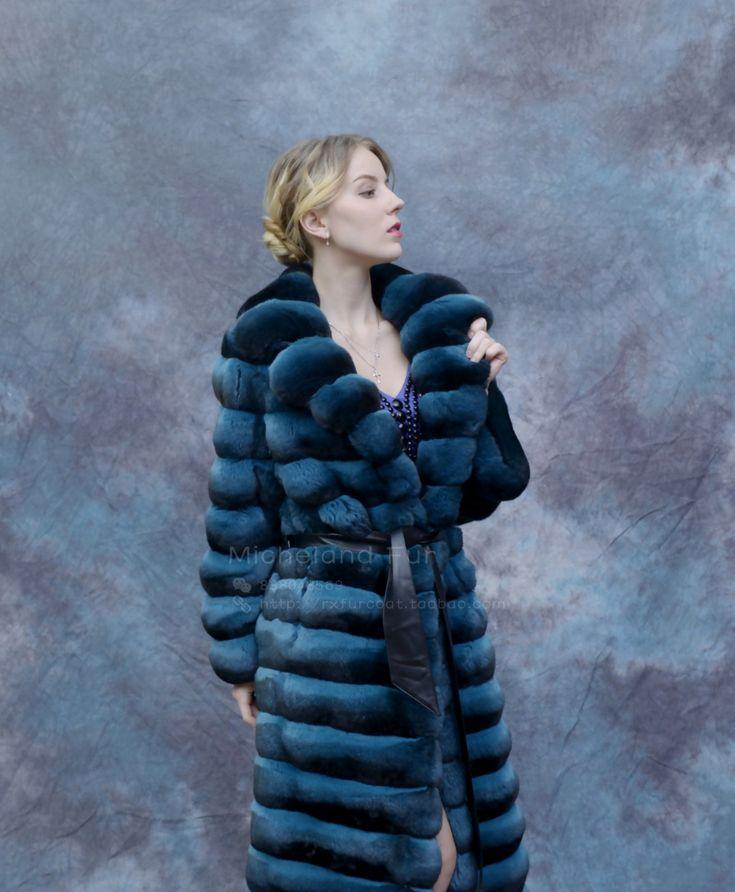 Blue Chinchilla Fur Long Coat