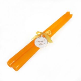 """These orange 10"""" Taper Candles add elegant and soft lighting that's perfect for any party or occasion. Set the perfect atmosphere at your wedding, party, or romantic candlelit dinner!Features and specs:  Includes: 2 taper candles Measurements: 10""""H x 3/4""""D base Weight: 0.30lbs Comes in a clear PVC package with matching ribbon and tag Package measures 2""""W x 12""""H"""