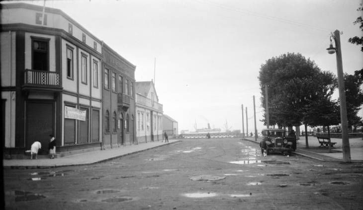 Chile, view of street near harborside plaza in Puerto Montt
