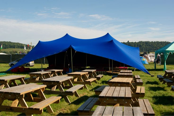 Our blue stretch tent