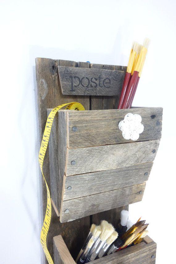 Reclaimed Wood Craft Organizer Handmade Rustic 3 Bin