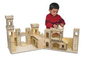 Melissa And Doug Castle Medieval It has a trap door that leads to the dungeon. The drawbridge goes up and down. The castle opens up so more than one child can easly play.  http://awsomegadgetsandtoysforgirlsandboys.com/melissa-and-doug-toys/ Melissa And Doug Castle Medieval