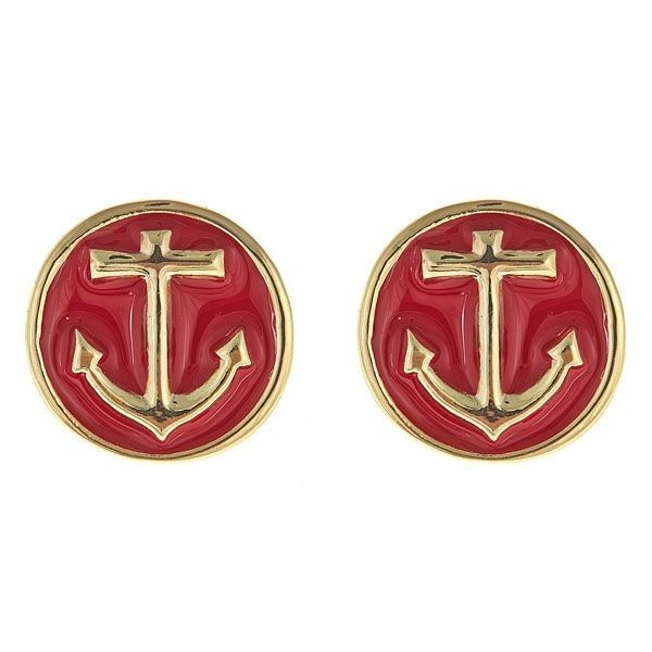 Be the best dressed first mate with the Fornash Anchor earrings in red {also available in navy & white}! #SwellCaroline #Nautical #Anchors