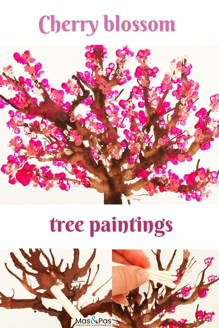 Cherry Blossom Tree Under Pink Sky Cotton Painting Technique 469 Cherry Blossom Painting Cherry Blossom Painting Acrylic Cherry Blossom Art
