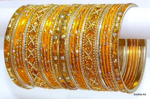 Awesome Indian Traditional Golden Color Bangles Metal Bracelet Set