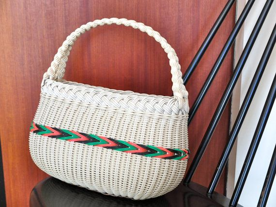 Vintage french wicker & plastic basket sixties 60s 1960s