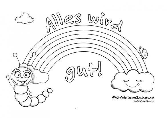 Alles Wird Gut Das Regenbogen Ausmalbild Von Wilma Wochenwurm Hallo Liebe Wolke Basteln Mit Papier Fruhling Kinderbucher Ausmalbild