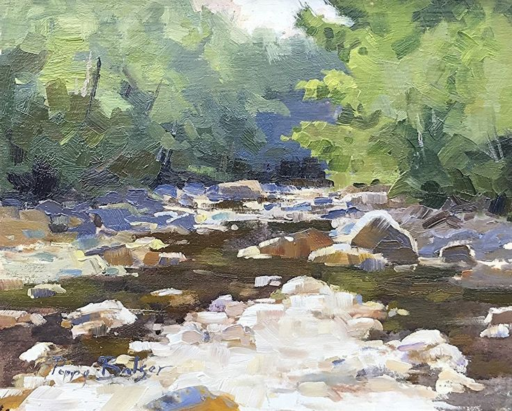 Sun and Shadow on a Stream by Poppy Balser Oil ~ 8 x 10