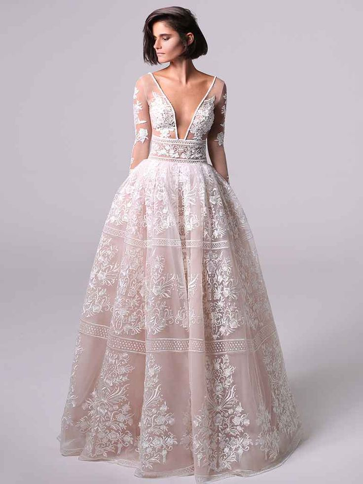 Lace ball gown with long sleeves and deep v-neckline | Michal Medina Fall 2018